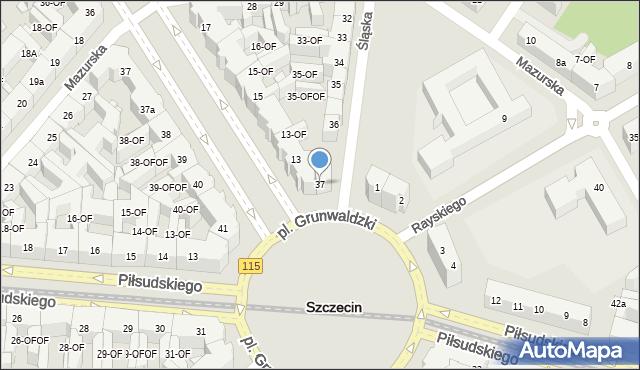 Szczecin, Śląska, 37, mapa Szczecina
