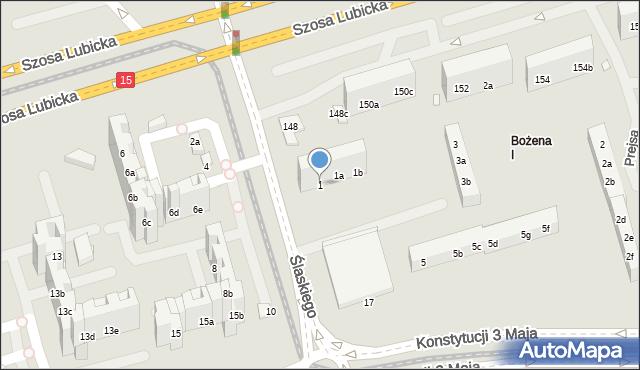 Toruń, Ślaskiego Ludwika, 1, mapa Torunia