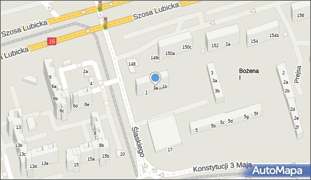 Toruń, Ślaskiego Ludwika, 1a, mapa Torunia