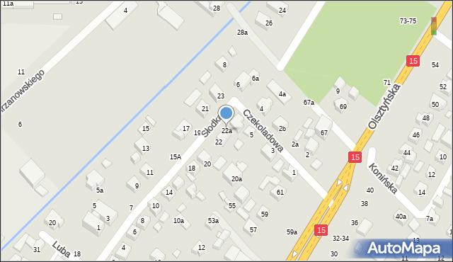 Toruń, Słodka, 22a, mapa Torunia
