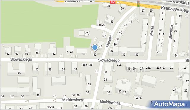 Toruń, Słowackiego Juliusza, 42, mapa Torunia