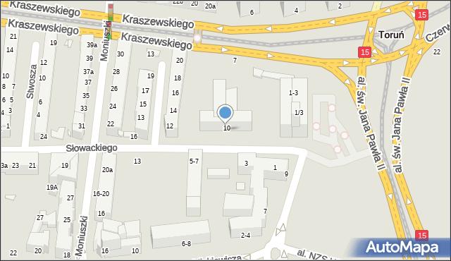 Toruń, Słowackiego Juliusza, 8, mapa Torunia