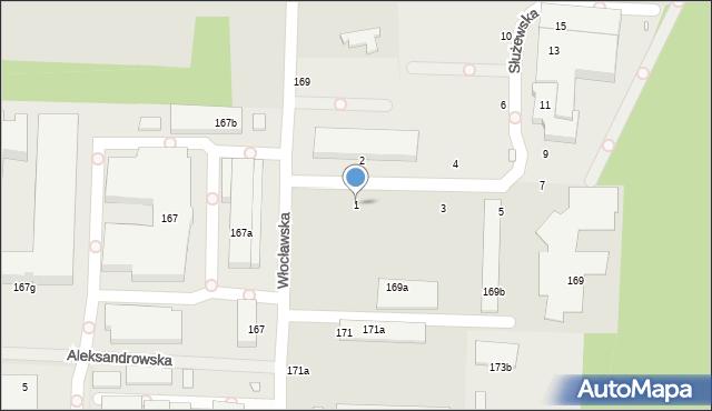Toruń, Służewska, 1, mapa Torunia