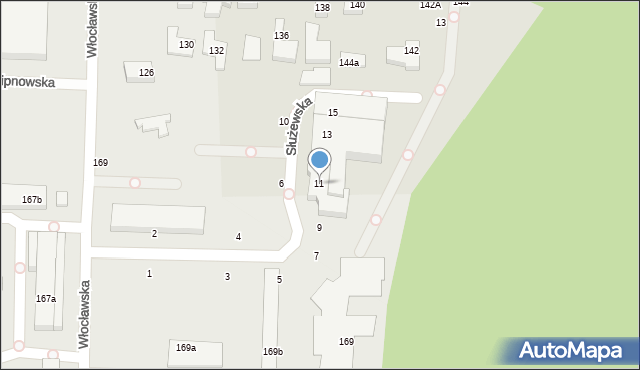 Toruń, Służewska, 11, mapa Torunia