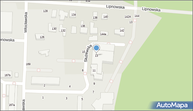 Toruń, Służewska, 13, mapa Torunia