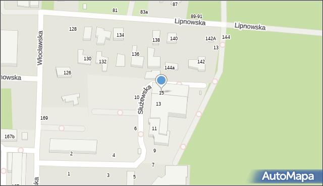 Toruń, Służewska, 15, mapa Torunia