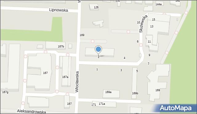 Toruń, Służewska, 2, mapa Torunia