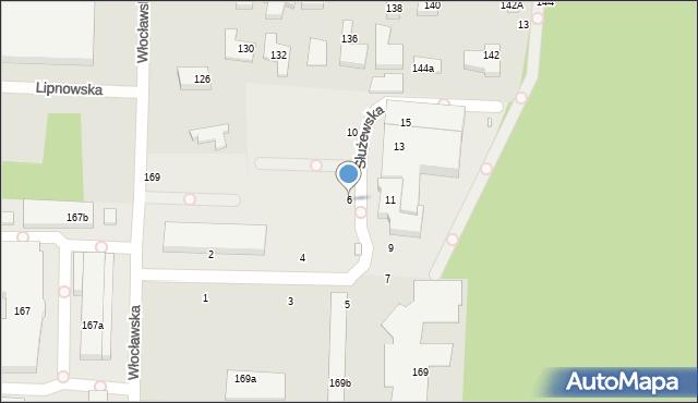 Toruń, Służewska, 6, mapa Torunia