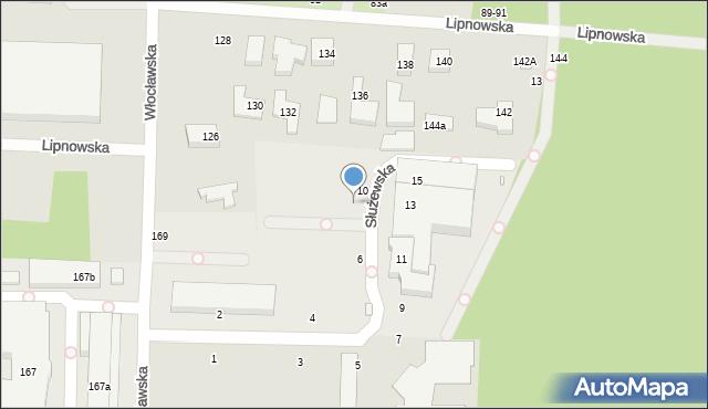 Toruń, Służewska, 8, mapa Torunia