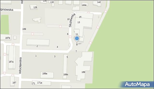 Toruń, Służewska, 9, mapa Torunia