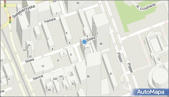 Warszawa, Śliska, 3, mapa Warszawy