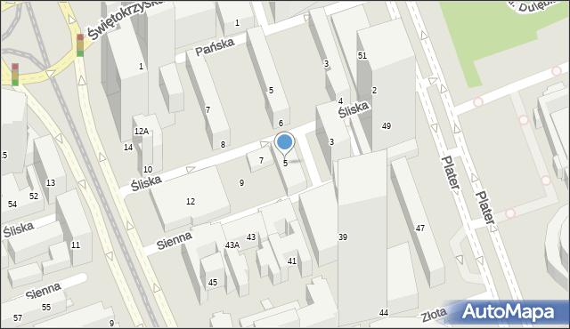 Warszawa, Śliska, 5, mapa Warszawy