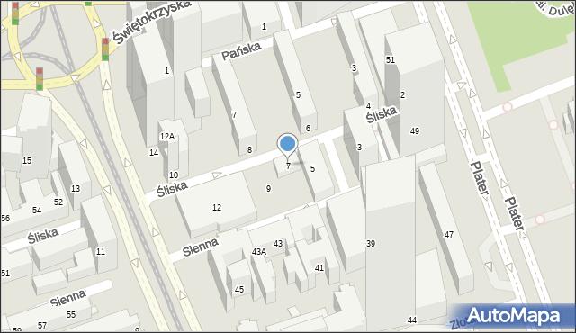 Warszawa, Śliska, 7, mapa Warszawy