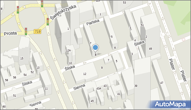 Warszawa, Śliska, 8, mapa Warszawy