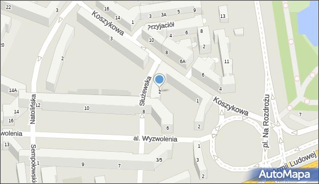 Warszawa, Służewska, 2, mapa Warszawy