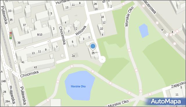 Warszawa, Słoneczna, 15, mapa Warszawy