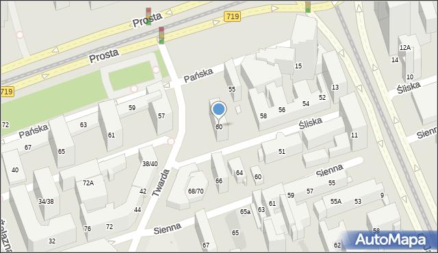 Warszawa, Śliska, 60, mapa Warszawy
