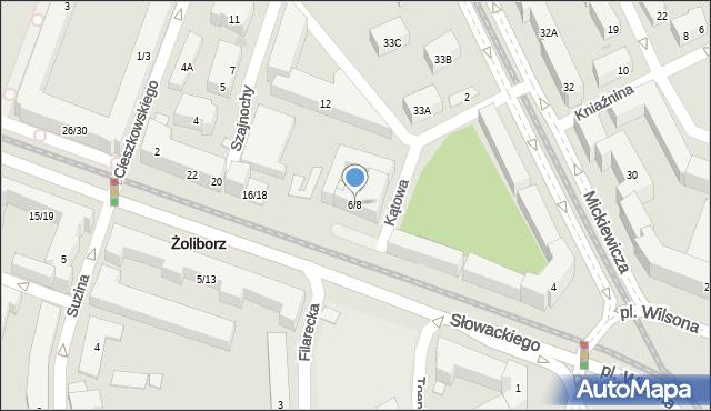 Warszawa, Słowackiego Juliusza, 6/8, mapa Warszawy
