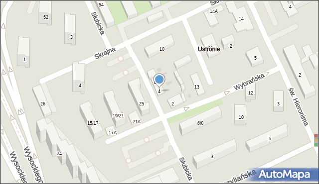 Warszawa, Słubicka, 4, mapa Warszawy