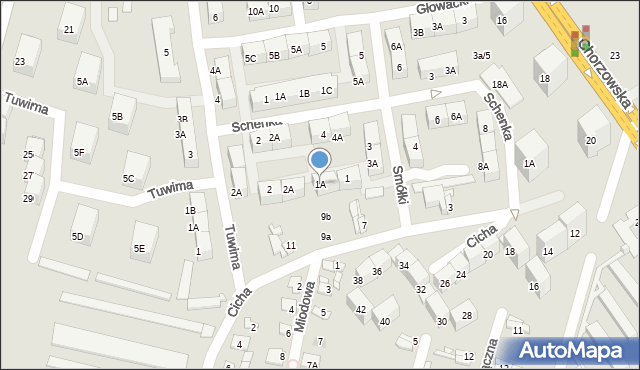 Bytom, Smółki Franciszka, 1A, mapa Bytomia