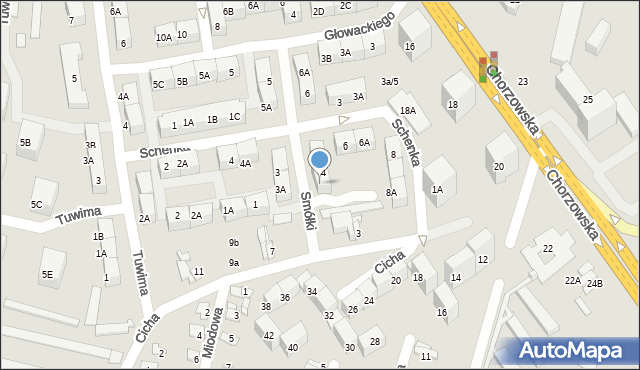 Bytom, Smółki Franciszka, 4A, mapa Bytomia
