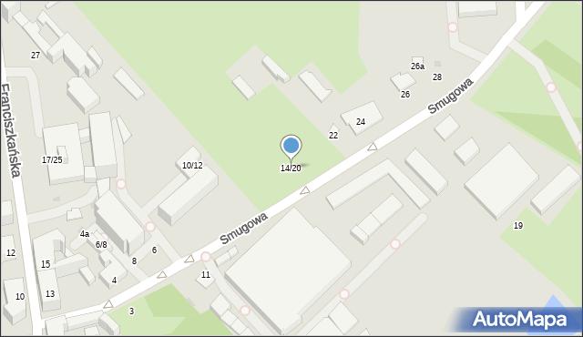 Łódź, Smugowa, 14/20, mapa Łodzi