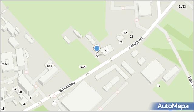 Łódź, Smugowa, 22, mapa Łodzi