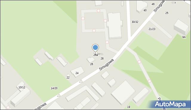 Łódź, Smugowa, 26a, mapa Łodzi