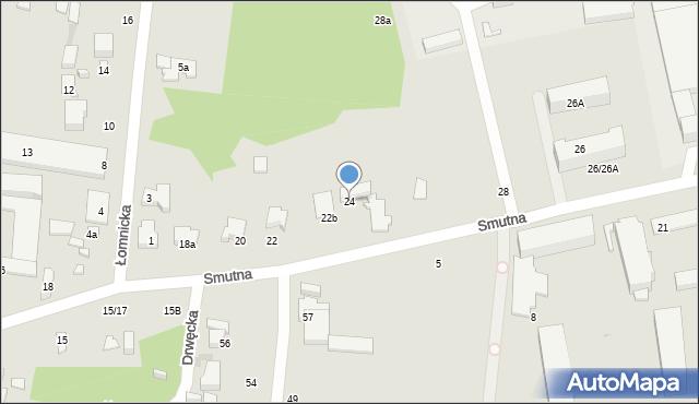 Łódź, Smutna, 24, mapa Łodzi