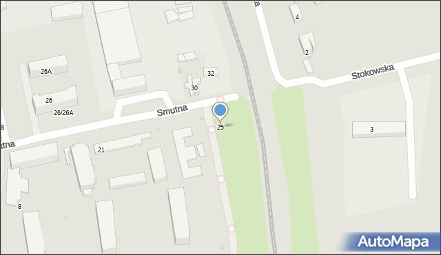 Łódź, Smutna, 25, mapa Łodzi