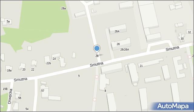 Łódź, Smutna, 28, mapa Łodzi