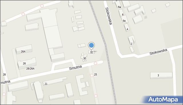 Łódź, Smutna, 32, mapa Łodzi