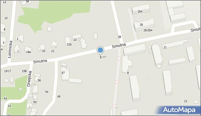 Łódź, Smutna, 5, mapa Łodzi