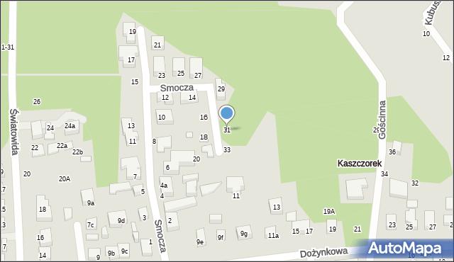 Toruń, Smocza, 31, mapa Torunia