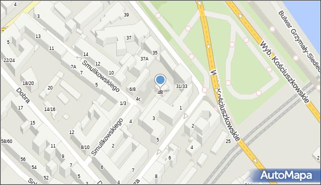 Warszawa, Smulikowskiego Juliana, 4B, mapa Warszawy