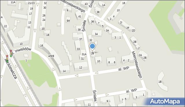 Warszawa, Śmiała, 28, mapa Warszawy
