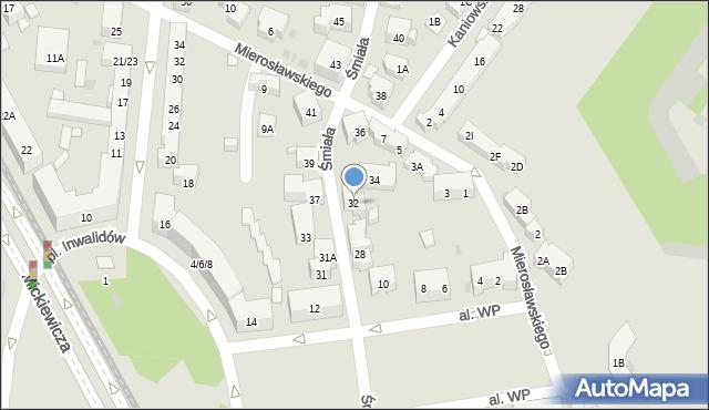 Warszawa, Śmiała, 32, mapa Warszawy