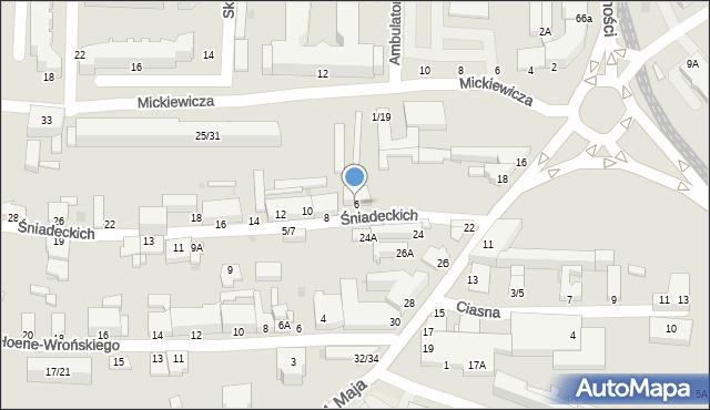 Częstochowa, Śniadeckich, 6, mapa Częstochowy