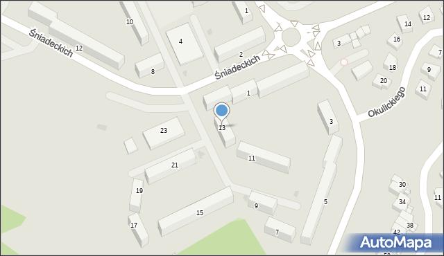 Grudziądz, Śniadeckich, 13, mapa Grudziądza