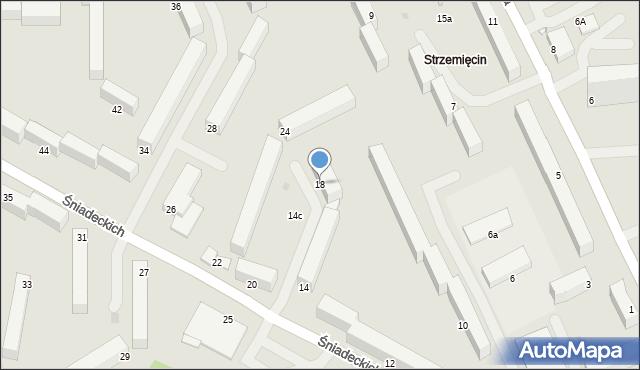 Grudziądz, Śniadeckich, 18, mapa Grudziądza