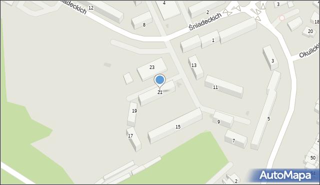 Grudziądz, Śniadeckich, 21, mapa Grudziądza