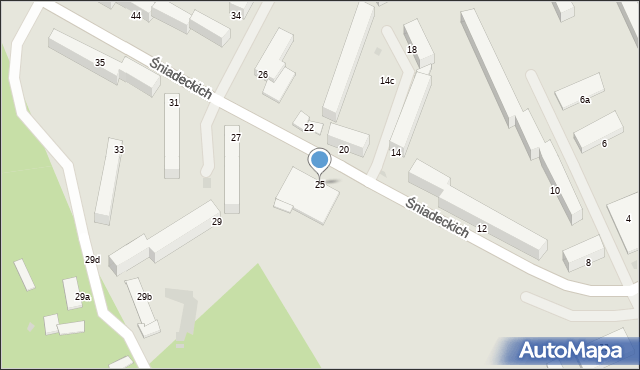 Grudziądz, Śniadeckich, 25, mapa Grudziądza