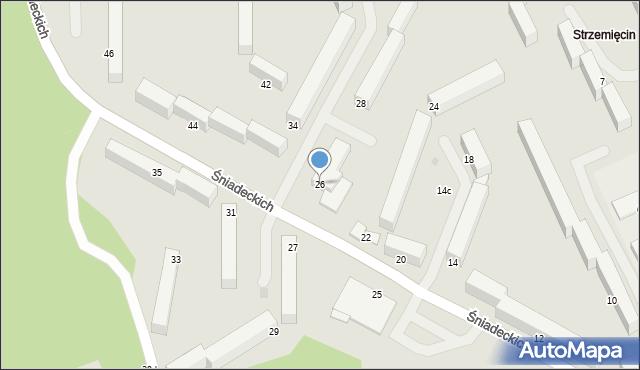 Grudziądz, Śniadeckich, 26, mapa Grudziądza