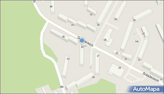 Grudziądz, Śniadeckich, 31, mapa Grudziądza