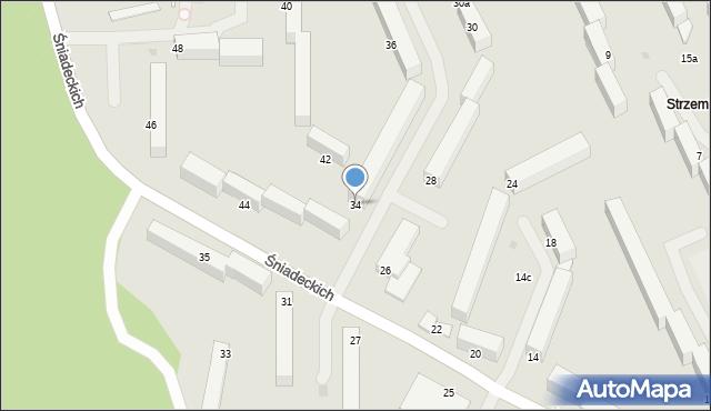 Grudziądz, Śniadeckich, 34, mapa Grudziądza