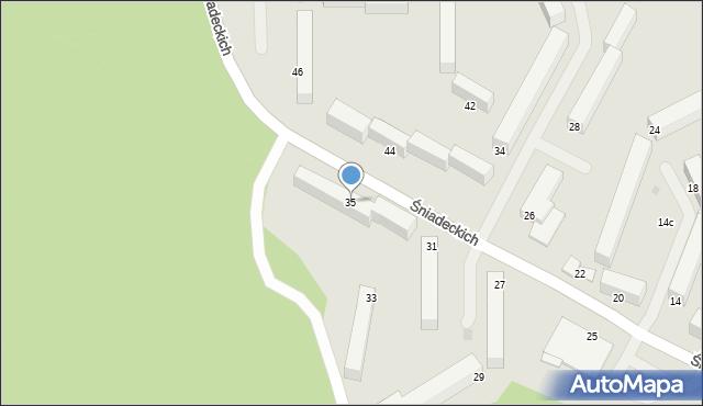 Grudziądz, Śniadeckich, 35, mapa Grudziądza