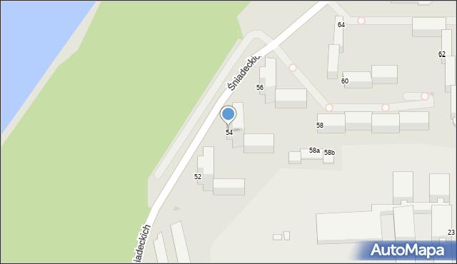 Grudziądz, Śniadeckich, 54, mapa Grudziądza