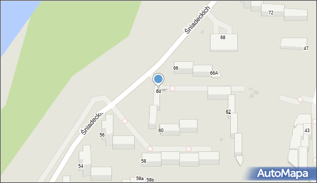 Grudziądz, Śniadeckich, 64, mapa Grudziądza