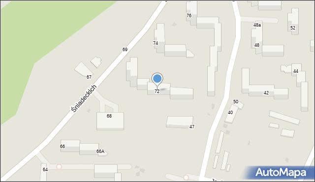 Grudziądz, Śniadeckich, 72, mapa Grudziądza