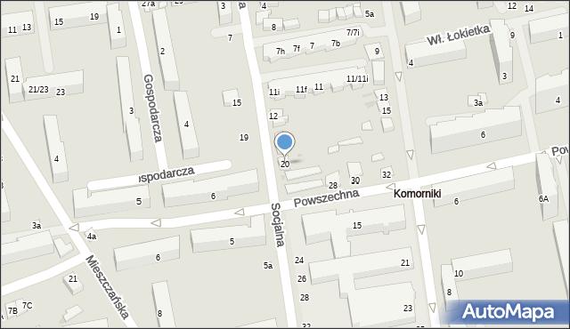 Łódź, Socjalna, 20, mapa Łodzi